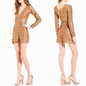 Dress the Population Bianca V-Neck Sequin Romper
